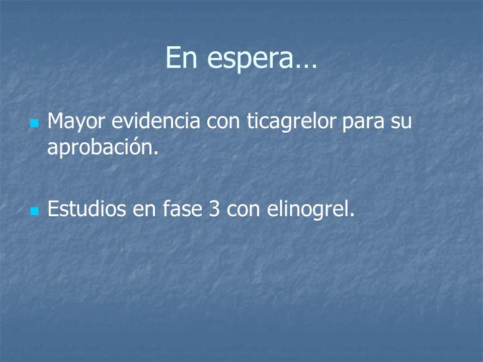 En espera… Mayor evidencia con ticagrelor para su aprobación. Estudios en fase 3 con elinogrel.
