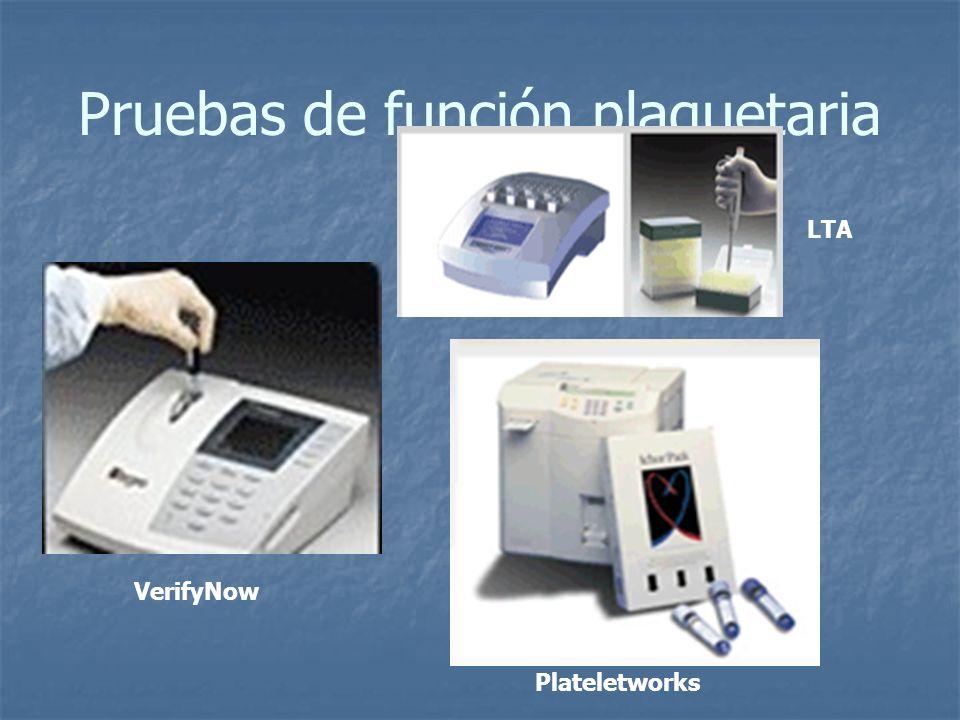 Pruebas de función plaquetaria VerifyNow LTA Plateletworks