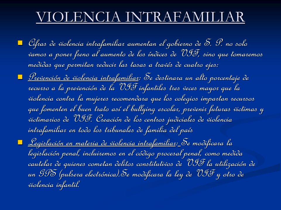 VIOLENCIA INTRAFAMILIAR Cifras de violencia intrafamiliar aumentan el gobierno de S. P. no solo vamos a poner freno al aumento de los índices de VIF,