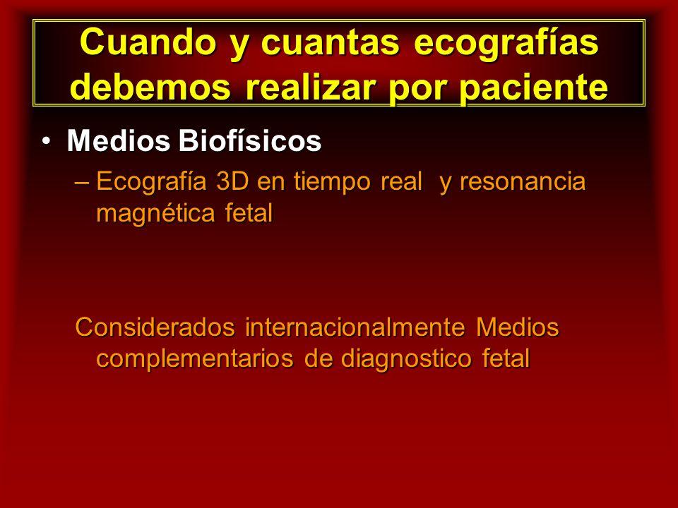 Cuando y cuantas ecografías debemos realizar por paciente Medios BiofísicosMedios Biofísicos –Ecografía 3D en tiempo real y resonancia magnética fetal