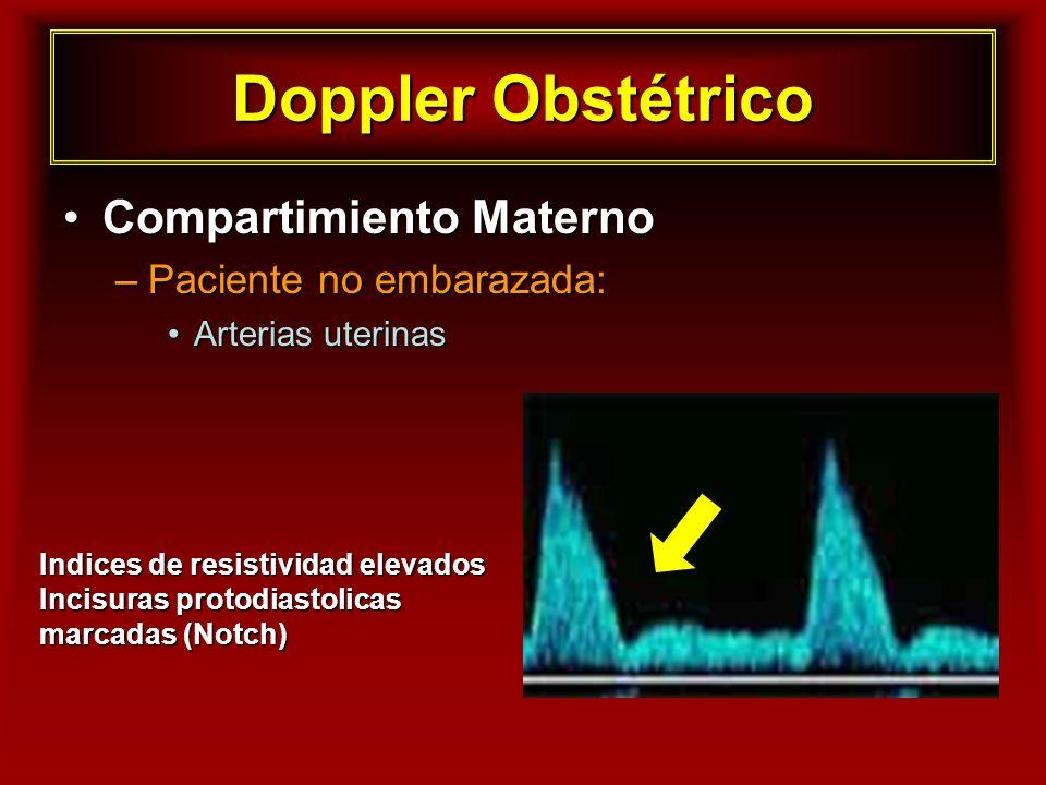 Doppler Obstétrico Compartimiento MaternoCompartimiento Materno –Paciente no embarazada: Arterias uterinasArterias uterinas Indices de resistividad el