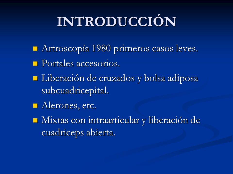 INTRODUCCIÓN Artroscopía 1980 primeros casos leves. Artroscopía 1980 primeros casos leves. Portales accesorios. Portales accesorios. Liberación de cru