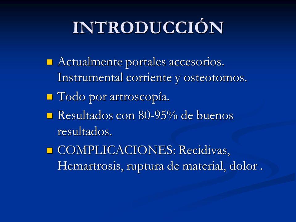 INTRODUCCIÓN Actualmente portales accesorios. Instrumental corriente y osteotomos. Actualmente portales accesorios. Instrumental corriente y osteotomo