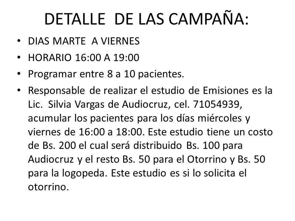 DETALLE DE LAS CAMPAÑA: DIAS MARTE A VIERNES HORARIO 16:00 A 19:00 Programar entre 8 a 10 pacientes. Responsable de realizar el estudio de Emisiones e
