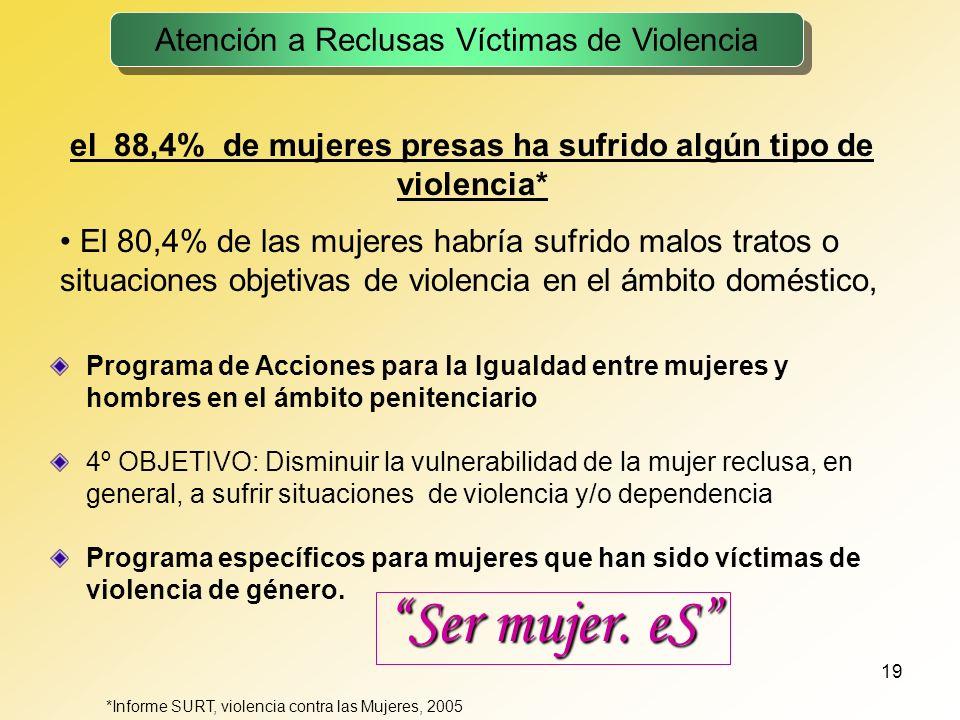 19 el 88,4% de mujeres presas ha sufrido algún tipo de violencia* El 80,4% de las mujeres habría sufrido malos tratos o situaciones objetivas de viole