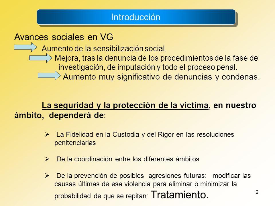 2 Introducción Avances sociales en VG Aumento de la sensibilización social, Mejora, tras la denuncia de los procedimientos de la fase de investigación