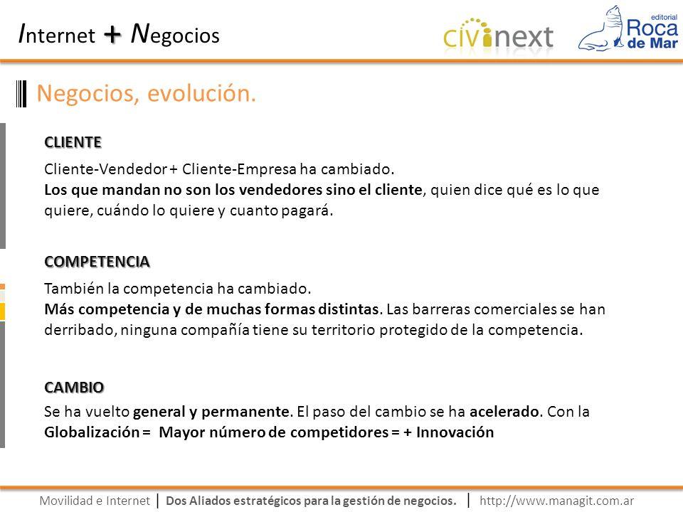 Movilidad e Internet Dos Aliados estratégicos para la gestión de negocios. | I nternet N egocios + | http://www.managit.com.ar Negocios, evolución. CL