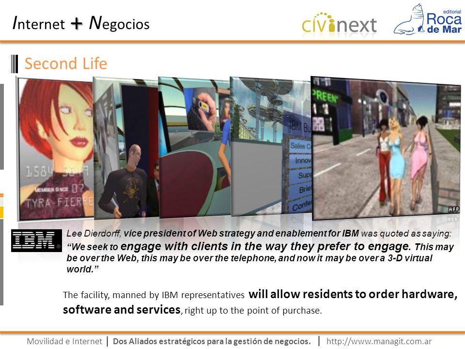 Movilidad e Internet Dos Aliados estratégicos para la gestión de negocios. | I nternet N egocios + | http://www.managit.com.ar Second Life Lee Dierdor
