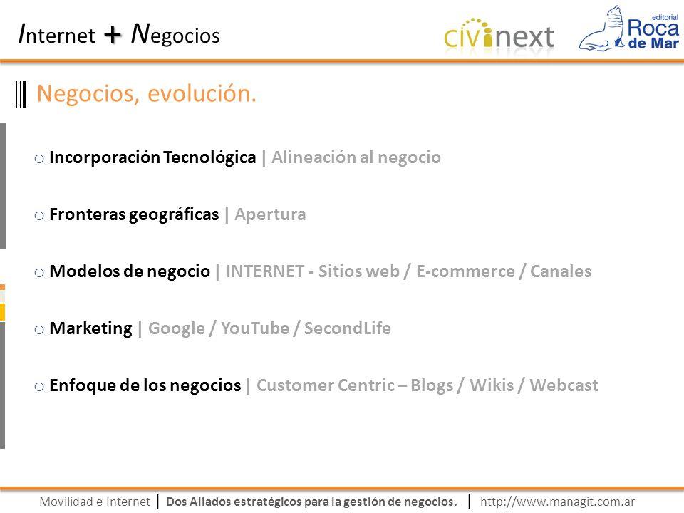 Movilidad e Internet Dos Aliados estratégicos para la gestión de negocios. | I nternet N egocios + | http://www.managit.com.ar Negocios, evolución. o