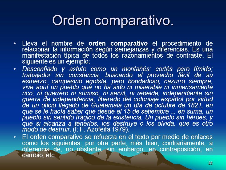 28 Orden comparativo. Lleva el nombre de orden comparativo el procedimiento de relacionar la información según semejanzas y diferencias. Es una manife
