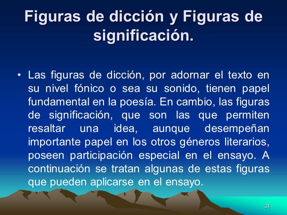 31 Figuras de dicción y Figuras de significación. Las figuras de dicción, por adornar el texto en su nivel fónico o sea su sonido, tienen papel fundam