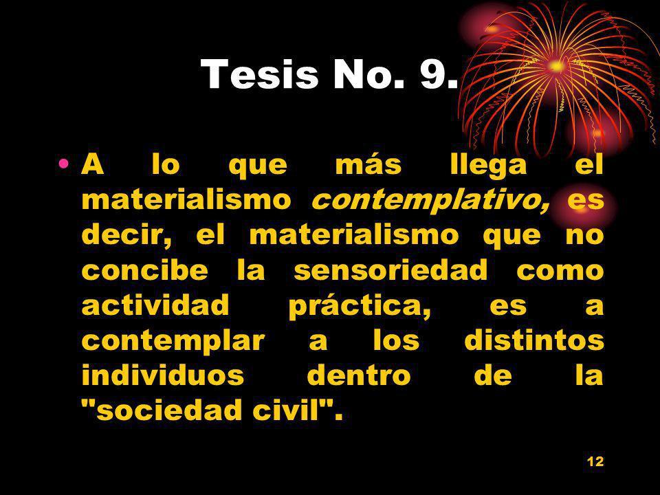 12 Tesis No. 9. A lo que más llega el materialismo contemplativo, es decir, el materialismo que no concibe la sensoriedad como actividad práctica, es