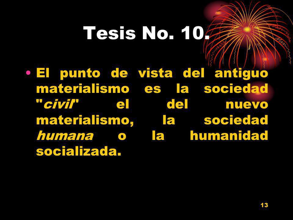 13 Tesis No. 10. El punto de vista del antiguo materialismo es la sociedad