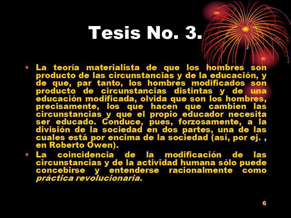 6 Tesis No. 3. La teoría materialista de que los hombres son producto de las circunstancias y de la educación, y de que, par tanto, los hombres modifi