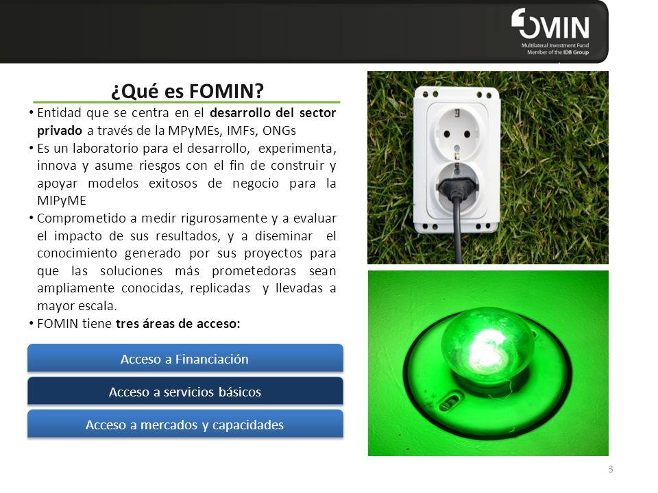 Click to edit Master title style ¿Qué es FOMIN? Entidad que se centra en el desarrollo del sector privado a través de la MPyMEs, IMFs, ONGs Es un labo