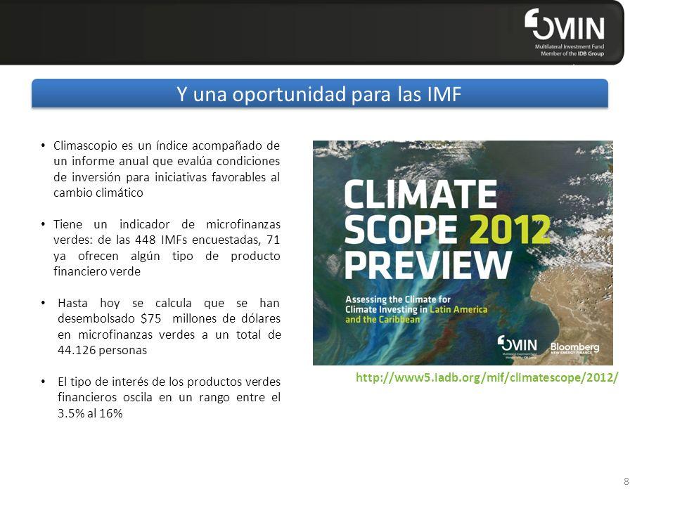 Click to edit Master title style 8 Y una oportunidad para las IMF Climascopio es un índice acompañado de un informe anual que evalúa condiciones de in