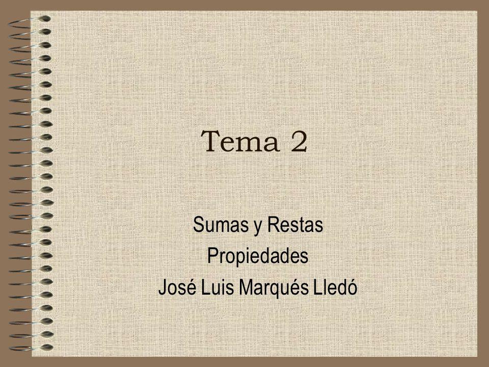 Tema 2 Sumas y Restas Propiedades José Luis Marqués Lledó