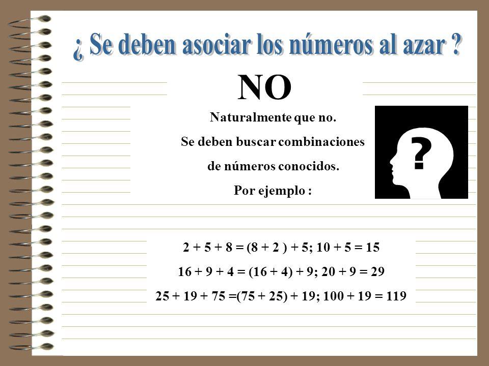 La propiedad asociativa dice así : Se pueden sustituir dos sumandos en una suma por su suma ya efectuada. Se expresa utilizando un Paréntesis ( )