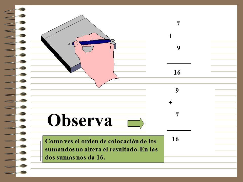 7 + 9 _______ 16 Observa 9 + 7 _______ 16 Como ves el orden de colocación de los sumandos no altera el resultado.