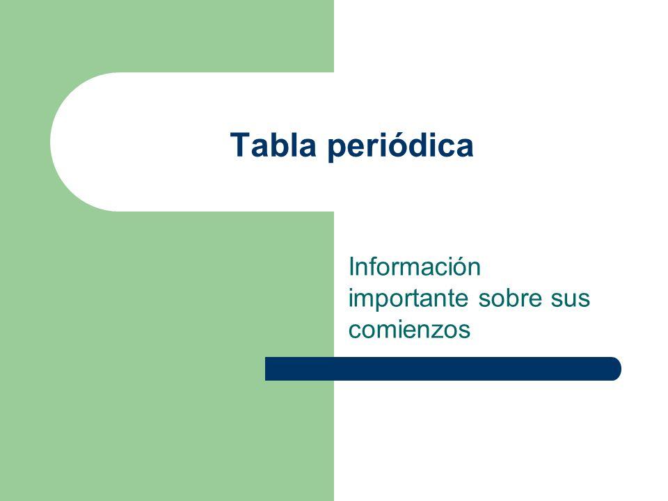 Tabla periódica Información importante sobre sus comienzos