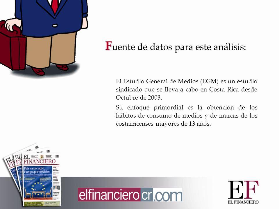 F F uente de datos para este análisis: El Estudio General de Medios (EGM) es un estudio sindicado que se lleva a cabo en Costa Rica desde Octubre de 2003.