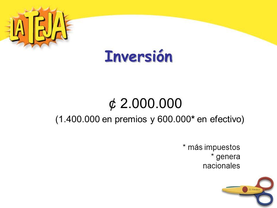 Inversión ¢ 2.000.000 (1.400.000 en premios y 600.000* en efectivo) * más impuestos * genera nacionales