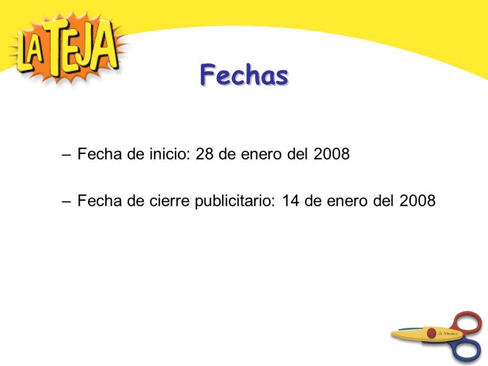Fechas –Fecha de inicio: 28 de enero del 2008 –Fecha de cierre publicitario: 14 de enero del 2008