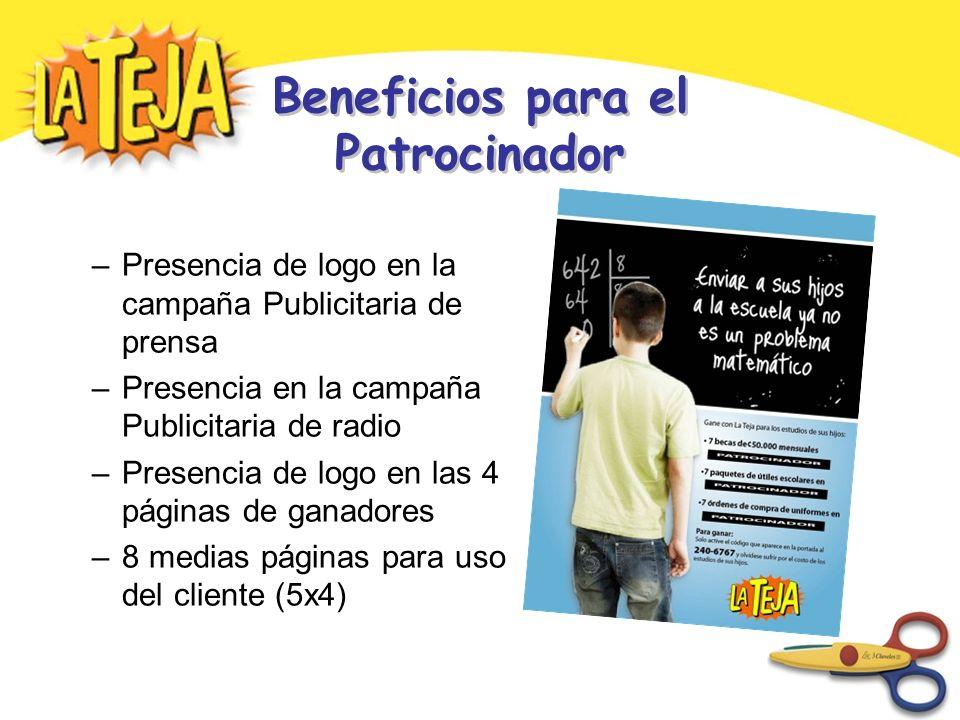 Beneficios para el Patrocinador –Presencia de logo en la campaña Publicitaria de prensa –Presencia en la campaña Publicitaria de radio –Presencia de logo en las 4 páginas de ganadores –8 medias páginas para uso del cliente (5x4)