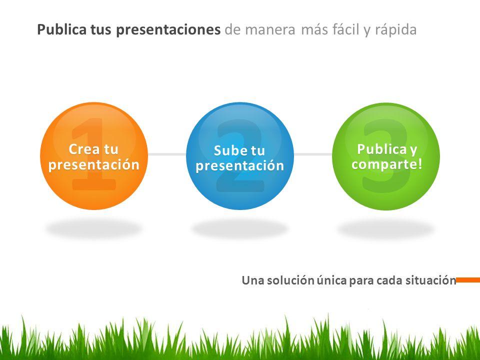 Publica tus presentaciones de manera más fácil y rápida Una solución única para cada situación 1 Crea tu presentación 2 Sube tu presentación 3 Publica y comparte!