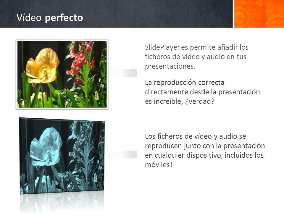SlidePlayer.es permite añadir los ficheros de vídeo y audio en tus presentaciones. La reproducción correcta directamente desde la presentación es incr