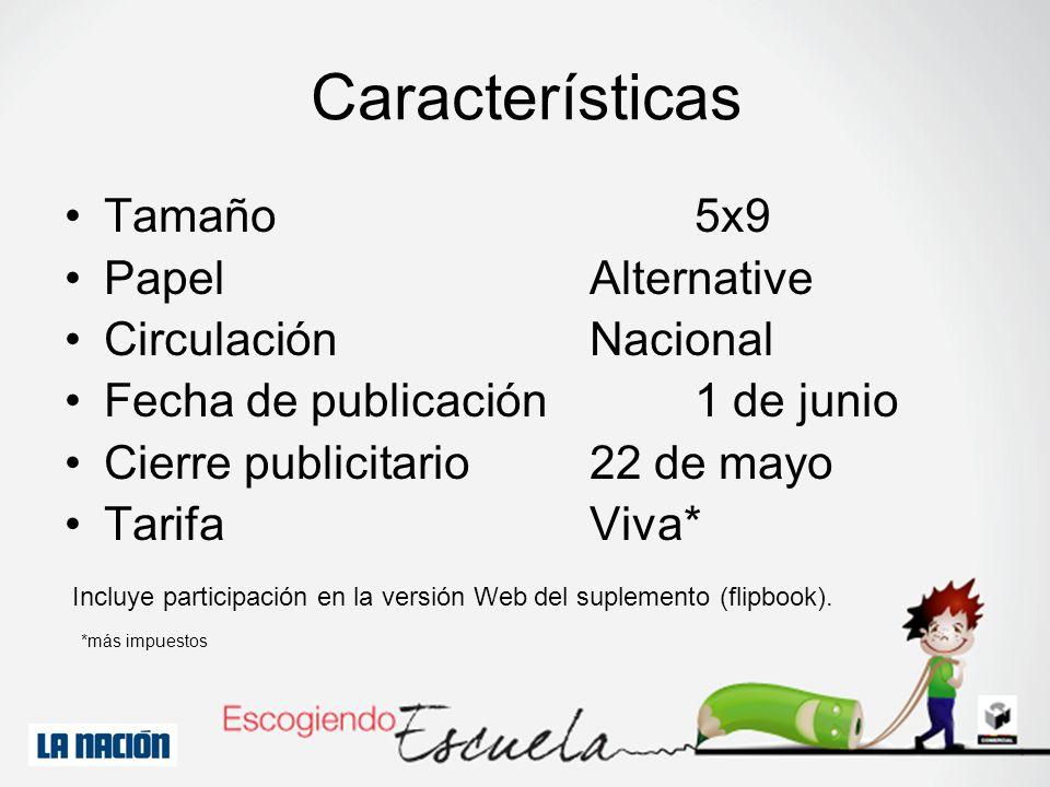 *más impuestos Incluye participación en la versión Web del suplemento (flipbook). Características Tamaño5x9 PapelAlternative CirculaciónNacional Fecha