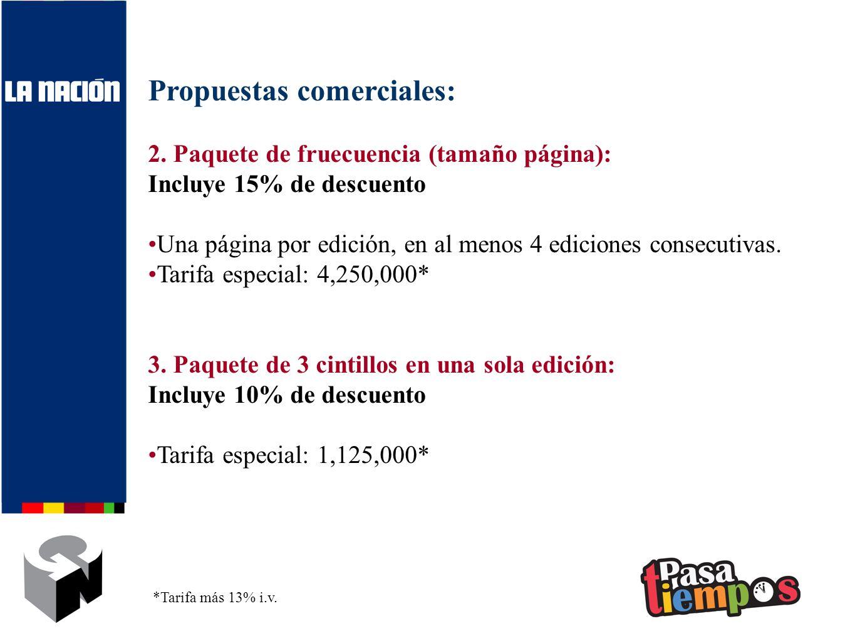 Propuestas comerciales: 2. Paquete de fruecuencia (tamaño página): Incluye 15% de descuento Una página por edición, en al menos 4 ediciones consecutiv