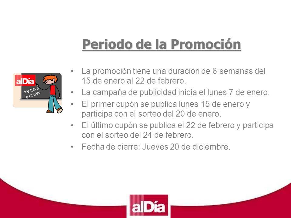 Te lleva a clases Periodo de la Promoción La promoción tiene una duración de 6 semanas del 15 de enero al 22 de febrero.