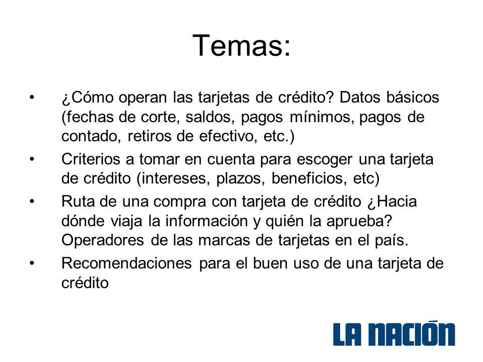 Temas: ¿Cómo operan las tarjetas de crédito.
