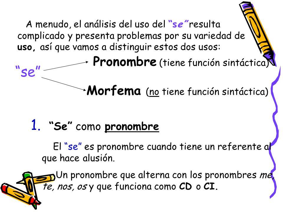 Podemos distinguir estos usos del se como pronombre Se pronombre personal, variante de le / les, en función de CI.