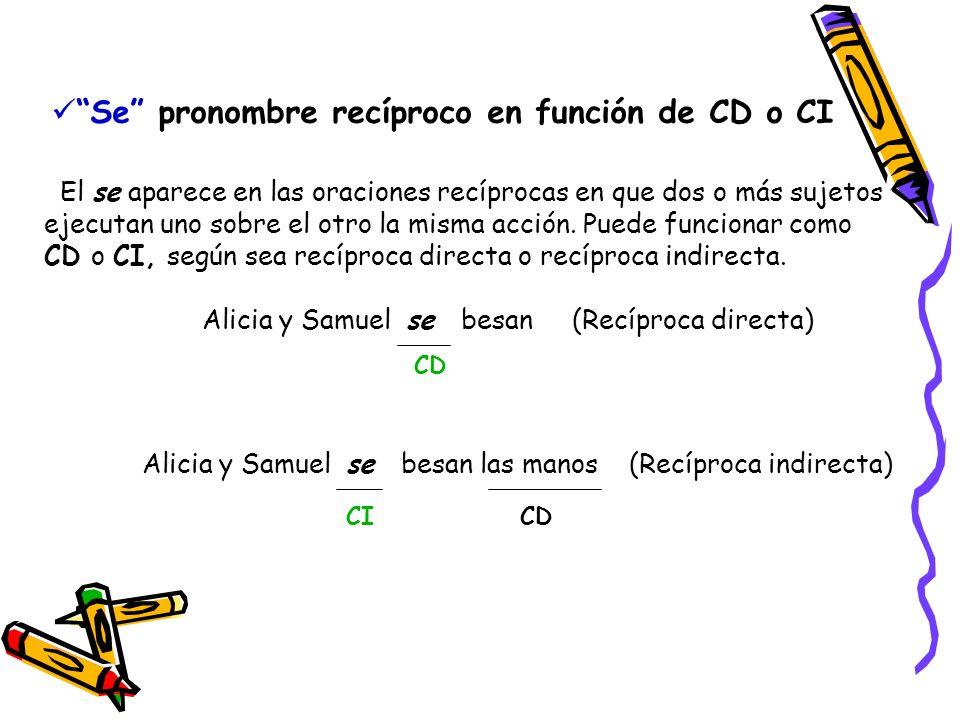 Se pronombre recíproco en función de CD o CI El se aparece en las oraciones recíprocas en que dos o más sujetos ejecutan uno sobre el otro la misma ac