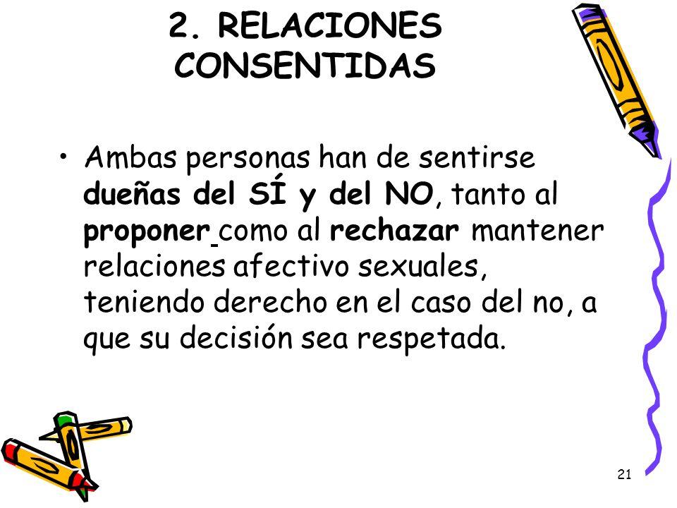 21 2. RELACIONES CONSENTIDAS Ambas personas han de sentirse dueñas del SÍ y del NO, tanto al proponer como al rechazar mantener relaciones afectivo se