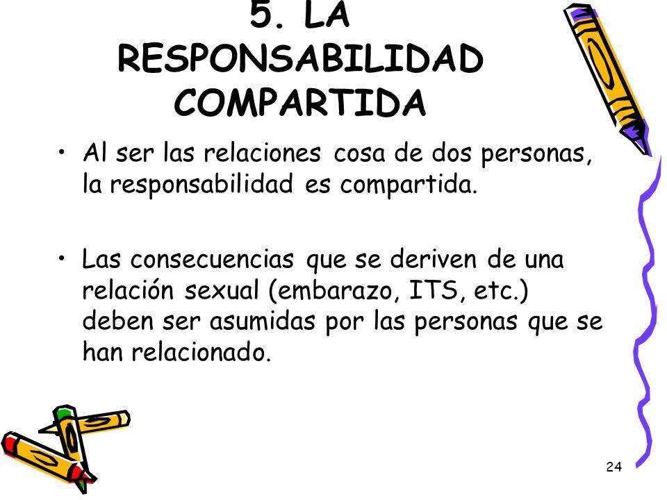 24 5. LA RESPONSABILIDAD COMPARTIDA Al ser las relaciones cosa de dos personas, la responsabilidad es compartida. Las consecuencias que se deriven de