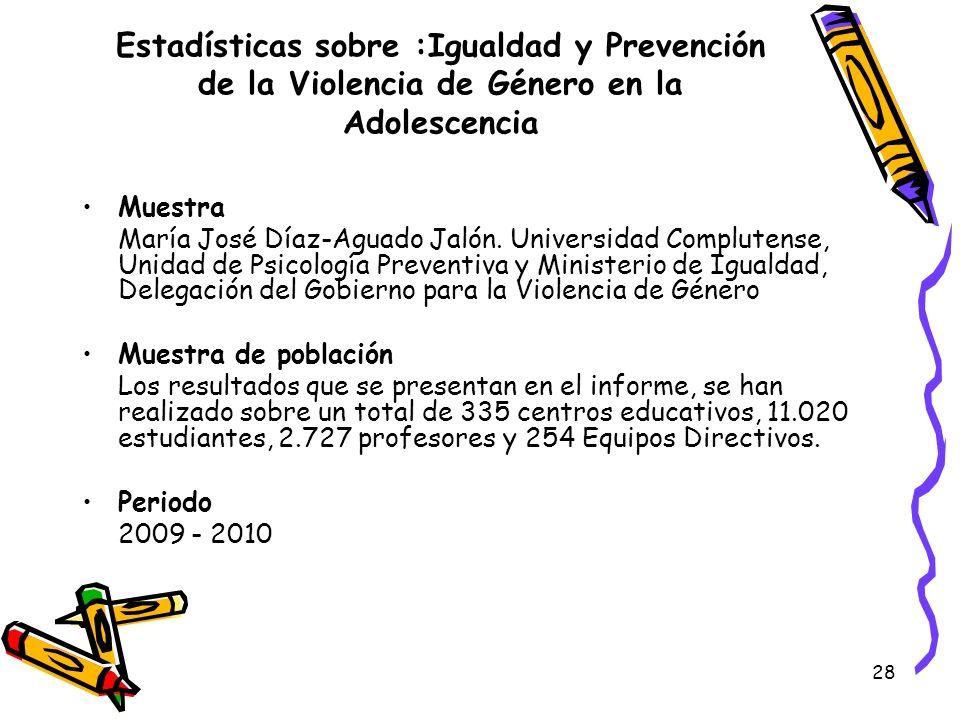 28 Estadísticas sobre :Igualdad y Prevención de la Violencia de Género en la Adolescencia Muestra María José Díaz-Aguado Jalón. Universidad Complutens