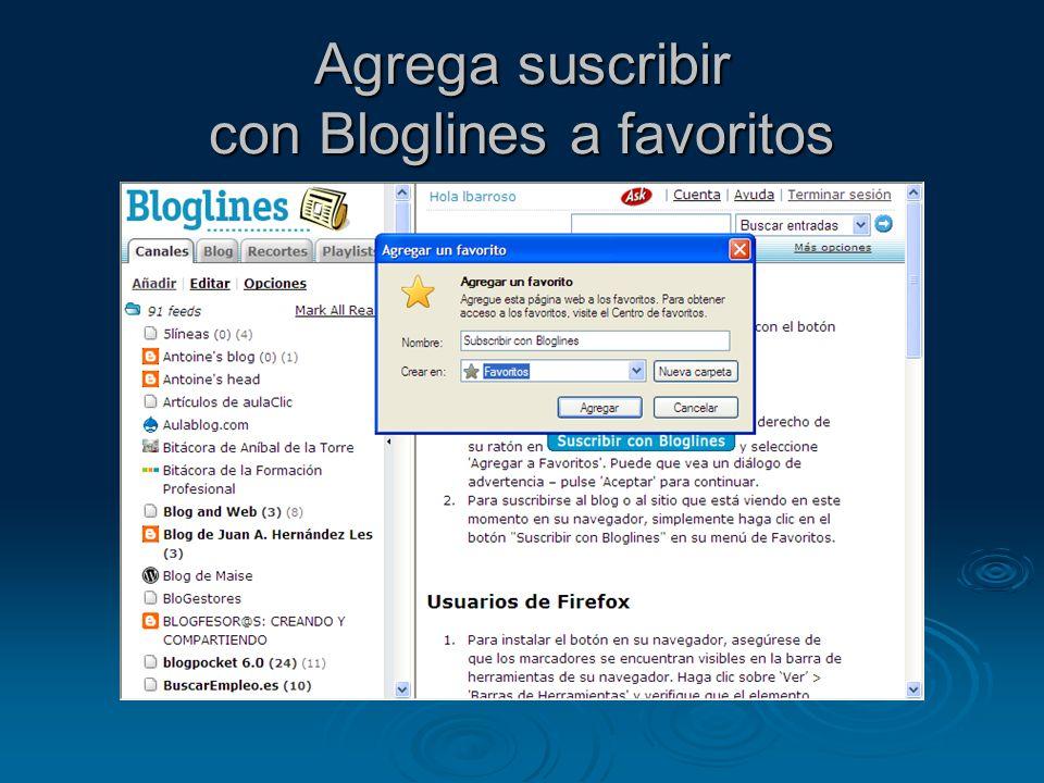 Agrega suscribir con Bloglines a favoritos