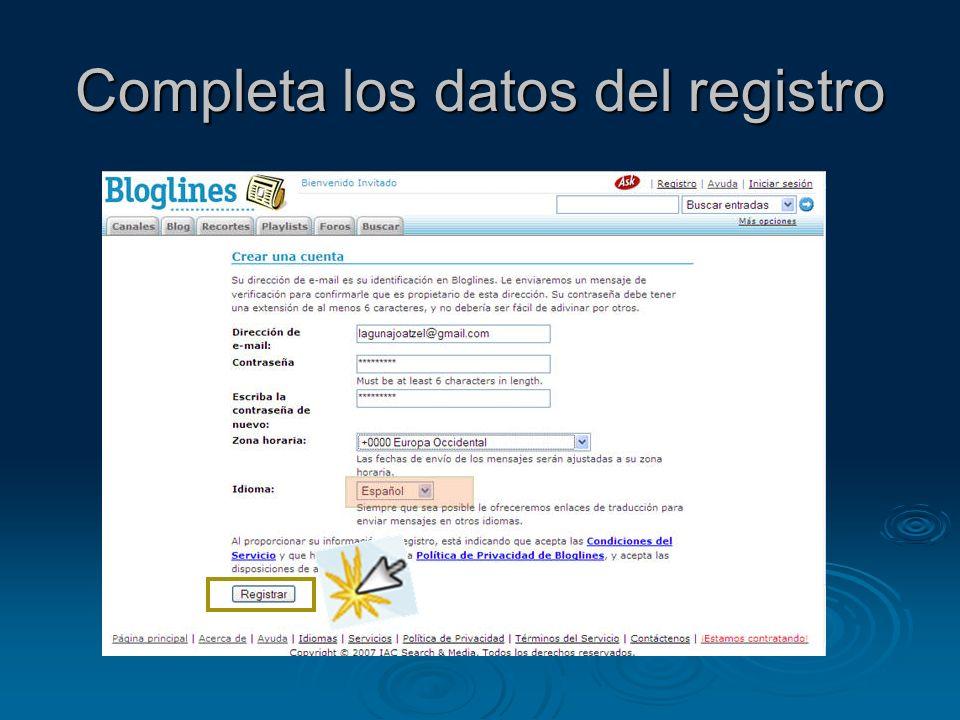 Completa los datos del registro