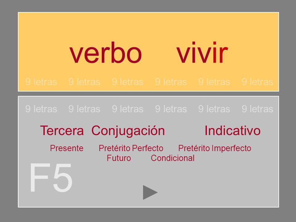 verbo vivir F5 9 letras 9 letras 9 letras Tercera Conjugación Indicativo Presente Pretérito Perfecto Pretérito Imperfecto Futuro Condicional