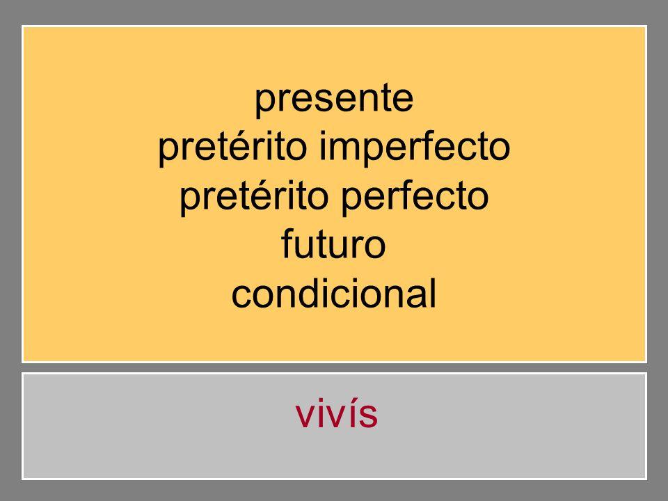 presente pretérito imperfecto pretérito perfecto futuro condicional vivisteis