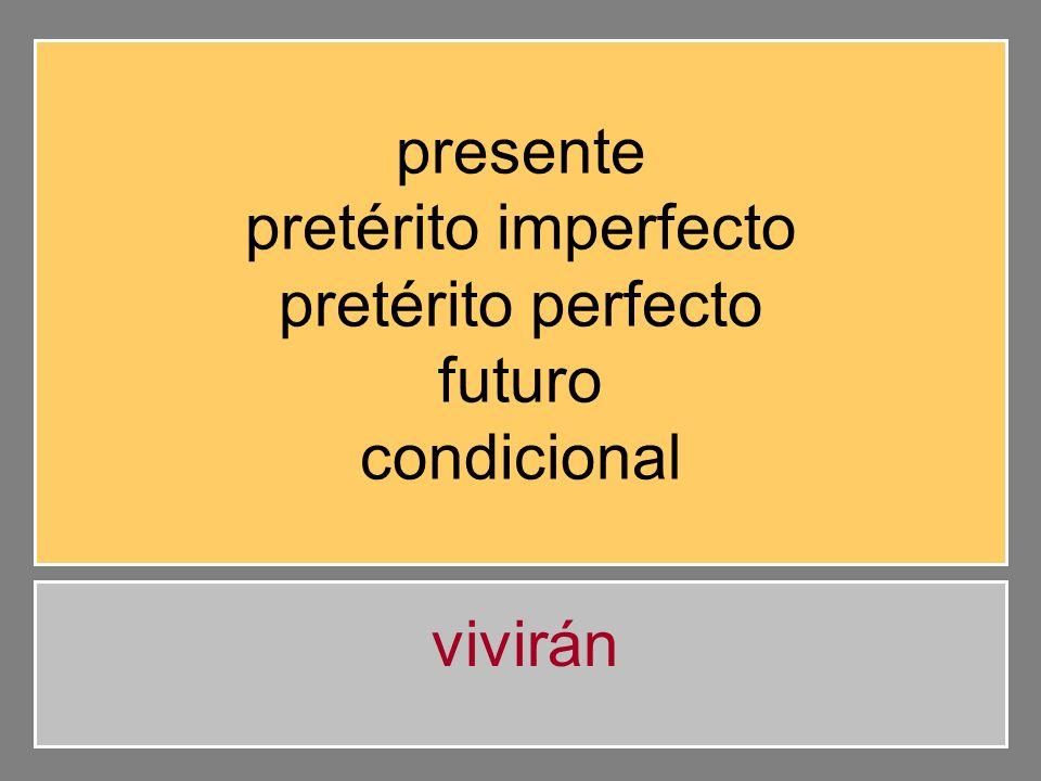 presente pretérito imperfecto pretérito perfecto futuro condicional viven