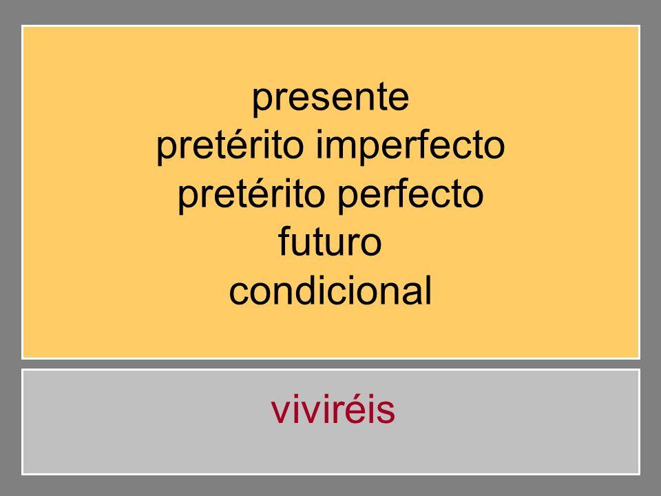 presente pretérito imperfecto pretérito perfecto futuro condicional vivirán