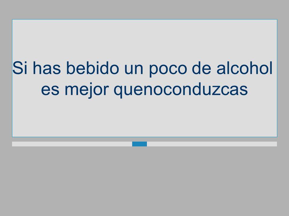 Si has bebido un poco de alcohol es mejorquenoconduzcas