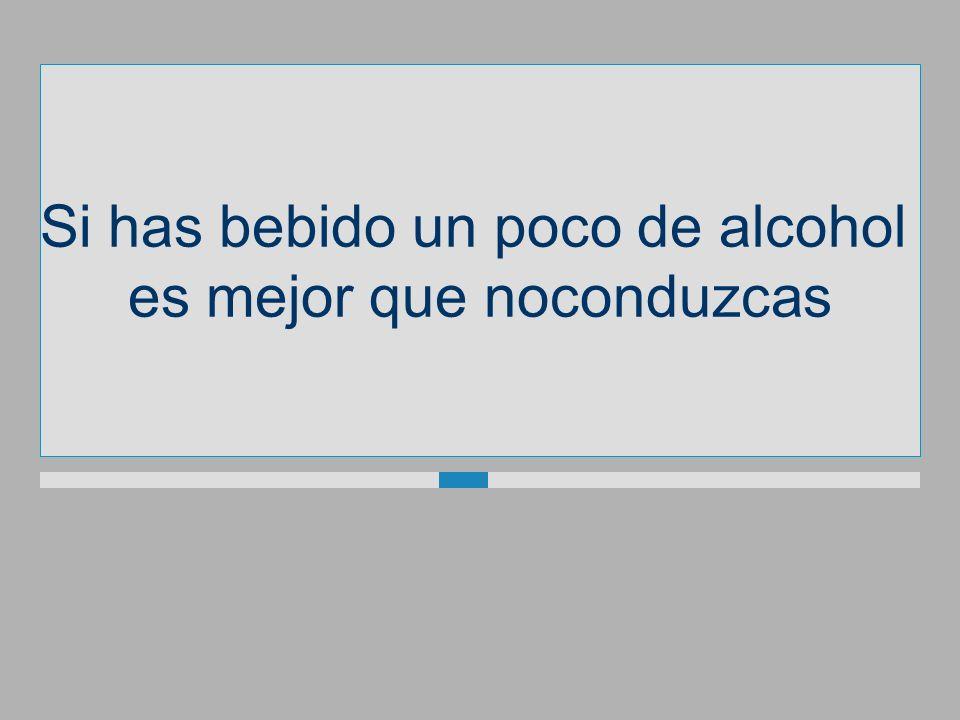 Si has bebido un poco de alcohol es mejor quenoconduzcas