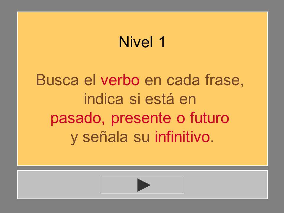 Verbo básico 2 Localizar el verbo en una frase.Tiempo pasado, presente y futuro.