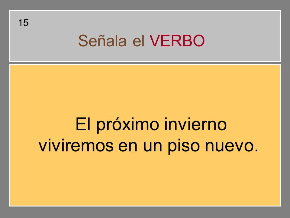 Nivel 1 Busca el verbo en cada frase, indica si está en pasado, presente o futuro y señala su infinitivo.