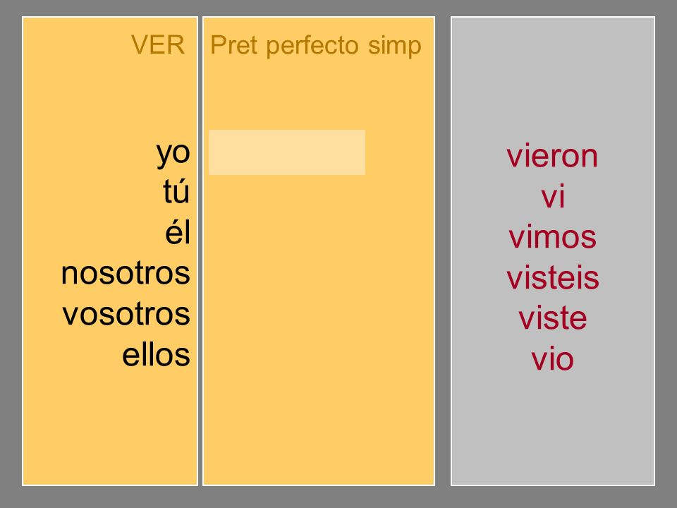 Completa el pretérito perfecto simple de indicativo.